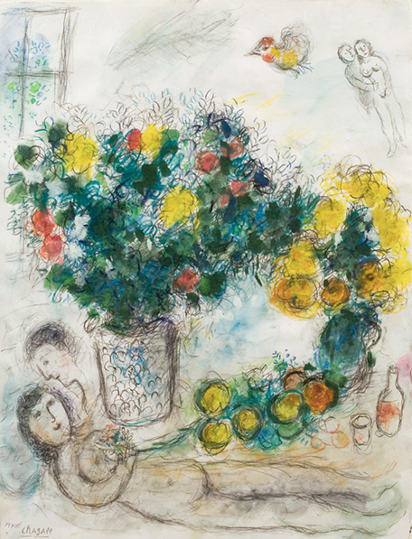 <strong>Marc Chagall</strong><br> <em>Fruits et Fleurs</em>, 1970<br> Gouache on paper<br> 25.98 x 20.08 in <br> (66 x 51 cm)