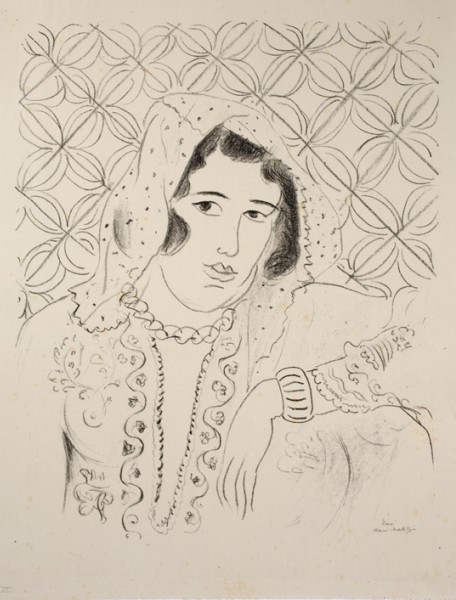 <strong>Henri Matisse</strong> <br><em>Figure devant tapa africain</em>, 1929 <br>Lithograph <br>25 3/8 x 19 ¾ in <br> (64.5 x 50 cm)