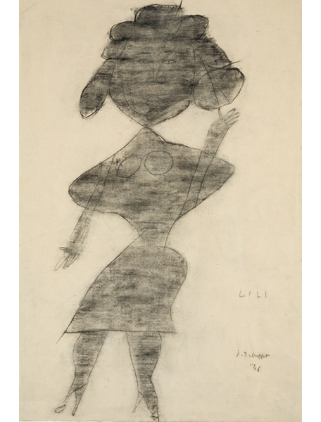 <strong>Jean Dubuffet</strong><br> <em>Portrait de Lili</em>, 1946<br> Pencil & charcoal on paper<br> 19 x 12.5 in <br> (48.26 x 31.75 cm)